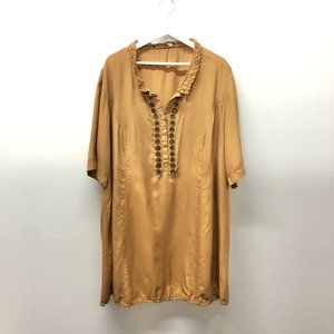 Marina Rinaldi Silk Golden Dress With Diamond Button Neckline